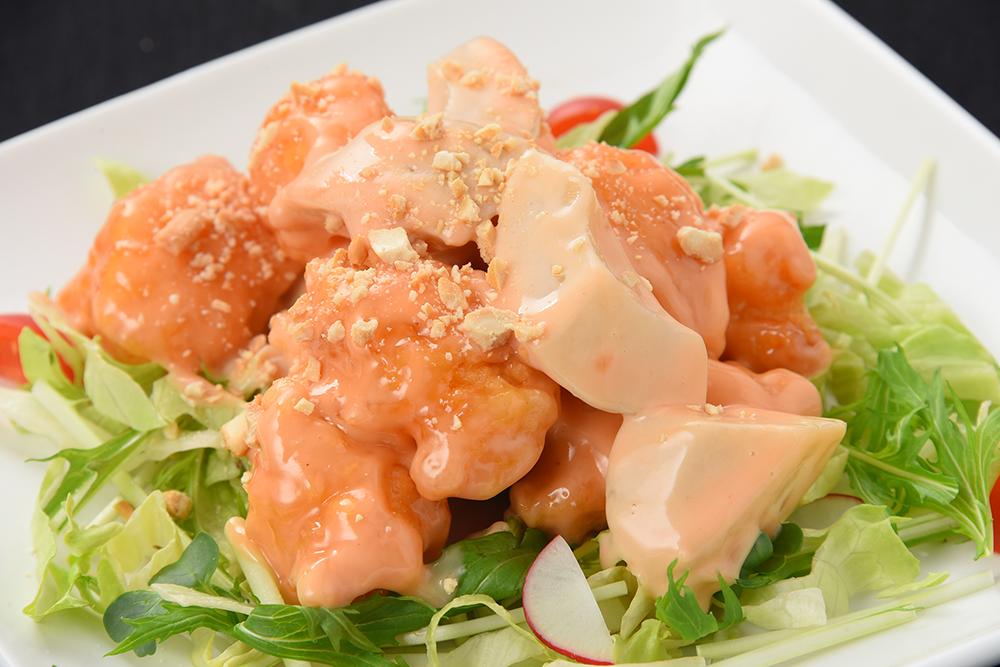 大海老と白桃のマヨネーズソース